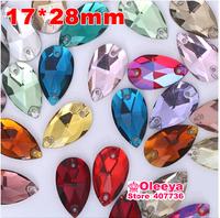 17x28mm 50pcs/bag  Sew on Rhinestones Pear Teardrop shape Stones Waterdrop  Rhinestone  Crystals ,Mix Color(15 Colors) O2501
