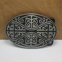 Western celtic belt buckle black coating FP-03505 suitable for 4cm wideth belts with continous stock free shipping