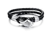 Biker Wing Angel Stainless Steel Braided Black Leather Bracelet For Mens Bracelets & Bangles Fashion Jewelry 3pcs/lot,BC1673