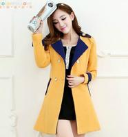 fourrure 2014 new Slim woolen coat Korean hit color cashmere wool coat woolen coat female