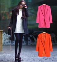 2015 winter Autumn new women's slim Blazers suit coat Long style OL plus size