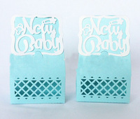 baby shower favor candy box pink blue new baby gift boxes laser cut  free shipping
