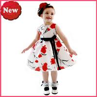 2014 summer dress girl Summer Girl Dress Flowers covered with dress black belt christmas dress