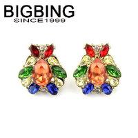 BigBing jewelry Golden crystal ear clips fashion earring good quality fashion jewelry nickel free B568