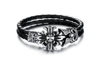 Wholesale Fashion New HOT Sale Design Jewelry 316L Stainless Steel Carving Flower Men Leather Bracelet 3pcs/lot,BC1671