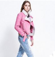 2014 European and American fur collar suede suede bomber jacket lamb wool jacket   xjh192