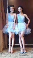 real photo A-line Mini blue Short Skirt Chiffon Satin Wedding Party Gowns Designer Bridesmaid Dresses Fast free Shipping
