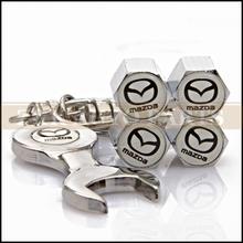 Free Shipping Mazda Logo Car Wheel Tire Valve Caps Stem Air + Wrench Keychain For Mazda 2 3 5 6 CX-5 CX-7 CX-9(China (Mainland))