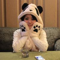 Super cute soft plush women's hat winter cartoon panda hats scarf gloves sets warm caps beanies, X'mas & birthday gift for girls