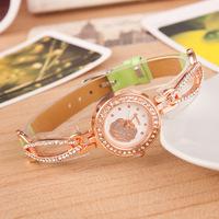 New Free Shipping High quality Quartz PU  Leather Wrist Bracelet Crystal Fashion Women Watch Ladies Wristwatch