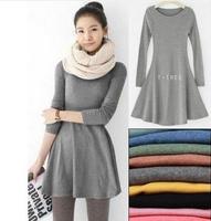 Fashion Clothes Women Dress 2014 Autumn Winter Dress Female 100% Cotton O-neck Long Sleeve Dress Woolen Dresses#14F047