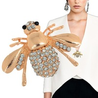 Hot 18K Gold Plated Crystal Rhinestone Bee Pins Brooch Fashion Jewelry Accessories Animal Insect Broochs Wholesale&Retail