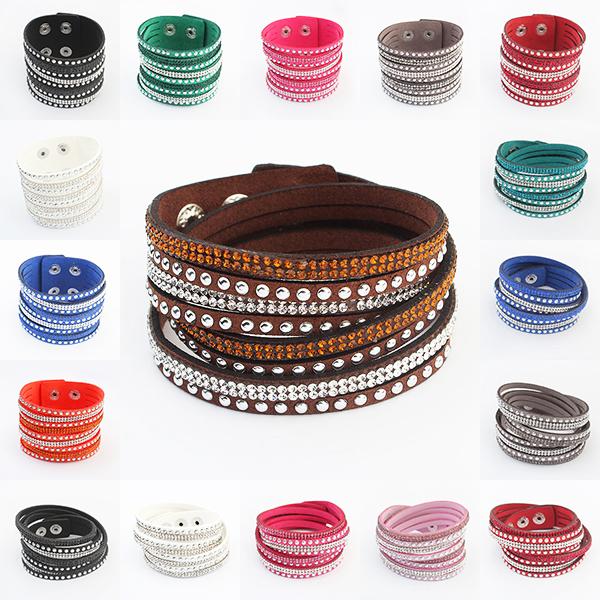 17 Colors New Unisex Multilayer Leather Bracelet Christmas Gift Charm Bracelets Vintage Jewelry For Women Pulsera 2014 M16(China (Mainland))