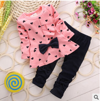 2014 baby sets spring and autumn girls clothing cotton female child autumn love bow child set kids suits size 90-110cm