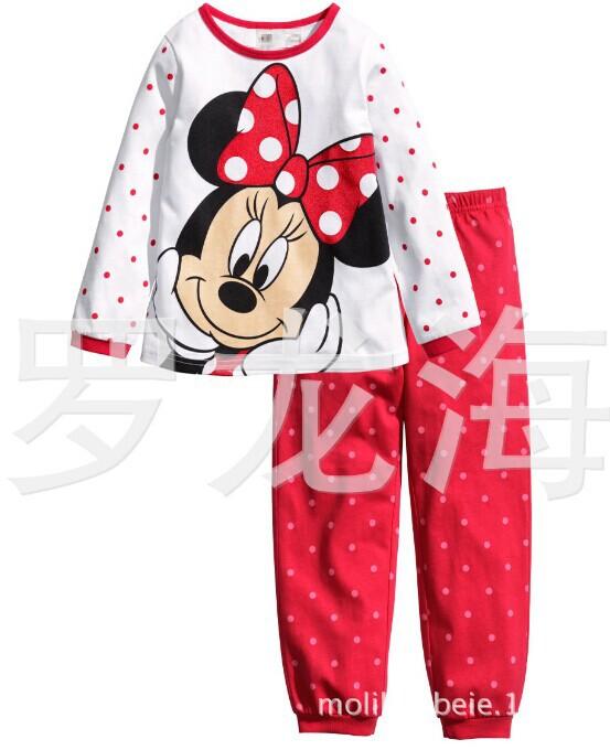 Children girls kids Clothing Sets Minnie suits 2 pcs sleepwear long sleeve cartoon pajamas IN STOCK(China (Mainland))