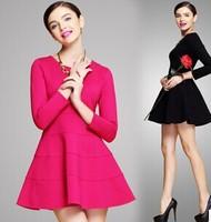 2015 brand higth quality women soild color silm long sleeve round neck fashion casual dress antumn dress work dress plus size