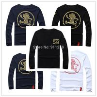 Rock Brand 3 Colors Monkey Printing Fashion Casual 3D Long Sleeve T-shirts O-neck Cotton Tees Men T-shirt Size M-XXL FS3216