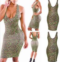 New Women Sexy Vestidos Sexy Bodycon Scoop Neck Leopard Club Dress MIni Bodycon Dress