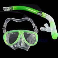 Hot Sale New Fluorescence Scuba Dive Equipment Diving Mask + Dry Snorkel Set Scuba Snorkeling Gear Kit TK1080 3F