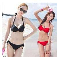 2015 new sexy low Waist solid red Bikinis set Swimwears lingerie M/L/XL Women black Swimsuit korea style bathing suits