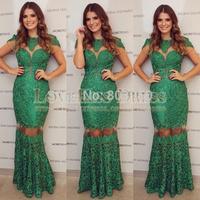 Vestidos De Festa Renda Scoop Neck Cap Sleeves Green Lace Formal Long Dress Elegant Celebrity Dress Mermaid Events Dress