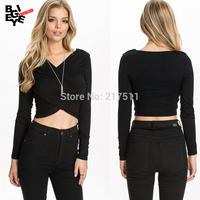 New 2015 Spring Sexy Cross Folds Tube Tops V-neck Short Designed Long Sleeve Plus Size Black Basic T-shirts For Women J14120209