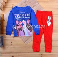 2015 new girl girls long sleeve FROZEN Elsa and Anna girl girls baby lovely pyjamas suit 6 sets/lot #02015b