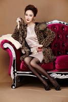 Leopard Long Skirt Women Natural Fur Rex Rabbit Fur Coats With Fox Fur Trim Hood Fox fur Collar Ladies Overcoats