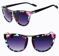 8 Colors Lady's Fashion Anti UV 400 Colorful Rose Printed Round Sunglasses 2014 Women's Sunglasses S260