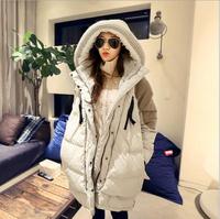 2014 Oversized Popular Women Parkas Coat Hooded Long Spliced Warm Outerwear Winter Thicken White Duck Down Parka Coat