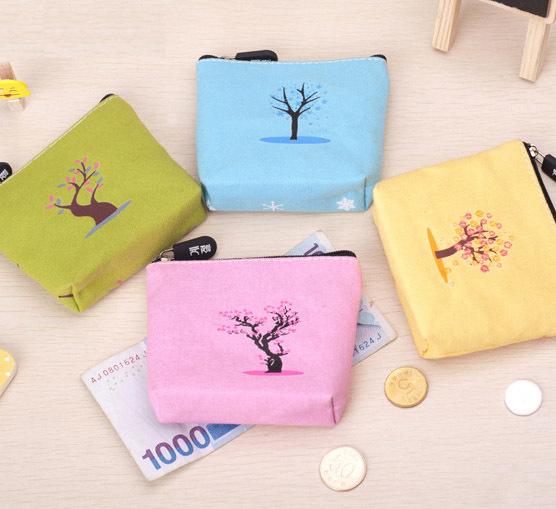 Min order 15$ (Mixed order) Creative Four Season Tree Painting Stationery Canvas Coin Purse Key Case Zipper Storage Make Up Bag(China (Mainland))
