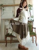 Mori Girl Style Lolita Skirt Vintage Print Patchwork Lace Skirtes Asymmetrical Unique Novelty Saia Longa Brandy Melville