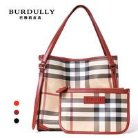 European and American big   Plaid bucket bag handbag shoulder bag new handbag large leather bag leather wholesale