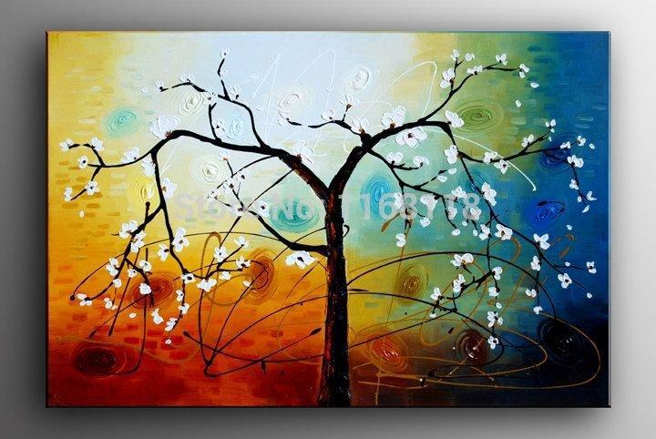 100% pintado à mão primavera filiais da árvore abstrata da paisagem stii vida pintura a óleo sobre tela 40 x 40 cm empate sem moldura(China (Mainland))