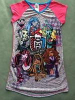 free shipping baby clothing girl girls monster high nighities short sleeve sleep dress dresses