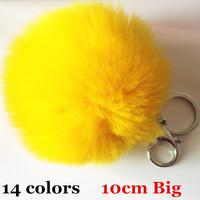 Hotsale Big 10cm Faux fur Ball Key ring Tag Key Chain Xmas Gifts Key Chain Fashion Accessories