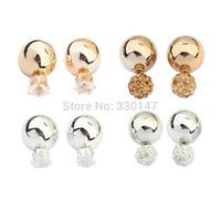2015 Hot Fashion Stud Earrings Jewelry Crystal Imitation Pearl Bijou Double Sides Big Shining Ball Gold Silver Dozen Wholesale