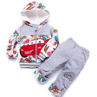 winter baby  boy  clothing set pajamas sport suit christmas print hooded fashion toddler boys clothing 100%cotton sets