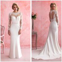 2015 New Designer Mermaid Wedding Dresses Long Sleeves Applique Chapel Train Hollow Back Bridal Gowns