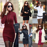 Fashion Womens Korean Turtleneck Casual Slim Long Sleeve Stretch Bodycon Fall Winter Warm Bottoming Mini Dress