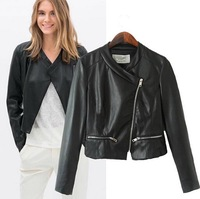 2015 European Style Women PU Leather Coat Famous Brand Diagonal Zipper Turn-Down Collar Jacket Spring Autumn Winter Outwear