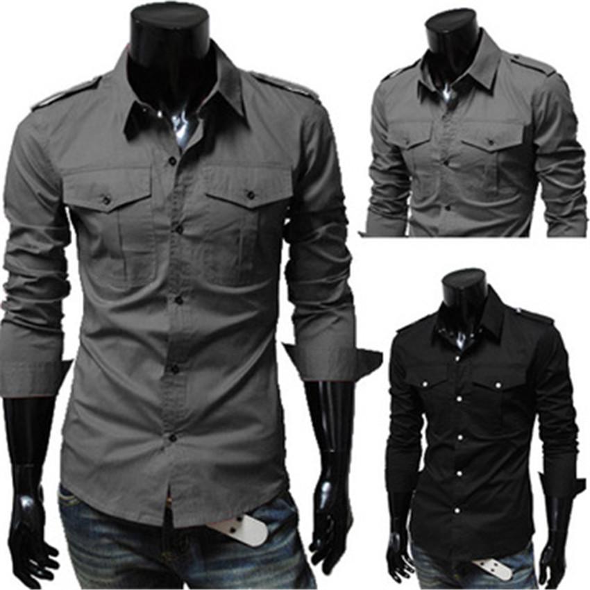 New Men's Quality Military Luxury Fashion Pocket Slim Casual Long-sleeve Dress Shirt Camisa Masculina(China (Mainland))