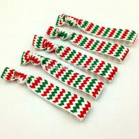 Christmas Hair Elastic Band Chevron Hair Band FOE Ribbon Hair Tie Wholesale Hair Accessories