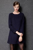 2015 new antumn winter women dot A line O neck long sleeve casual dress fashion dress work dress women clothing plus size L-4XL