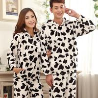 Couple Pajamas Cows Mink Cashmere Flannel Pajama Suit For Women And Men Set Cure Cartoon Casual Girl Sleepwear Set Onesie Pijama