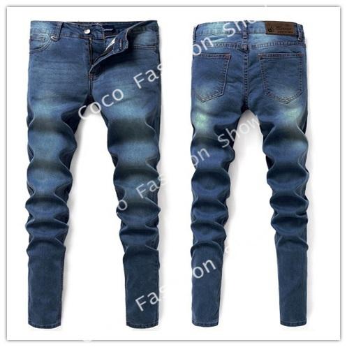 New men's Slim stretch jeans denim trousers straight casual jeans slim penc