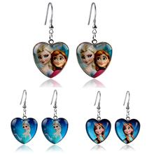 Hot Sale Fashion Girls Frozen Anna Elsa Drop Earrings Glasses Heart Dangle Earrings For Kids Gift(China (Mainland))