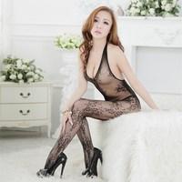 Free Shipping New Sexy Lingerie Women's Bodystocking Open Crotch Hollow Mesh Netting Piece Jacquard Fishnet Stockings