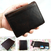 Crazy Horse Leather Wallets Card Holder Coin /Coin Purse short 3 fold wallet for men Vintage style