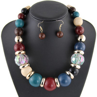 New Fashion Charm Ethnic Exaggerated Collar Bib Necklace Multi Bubble Chunky Statement Necklace & Earrings Jewelry Set NK851